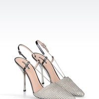 Giorgio Armani Women Closed Toe Slip Ons - SLING BACK IN PATENT WITH STUDS Giorgio Armani Official Online Store