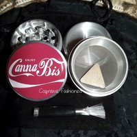 Enjoy Cannabis 4 Piece Herb Grinder Grinders Pollen Screen Scraper and Bag