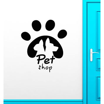 Vinyl Wall Decal Pet Shop Logo Signboard Cat and Dog Animal Tracks Stickers (3397ig)