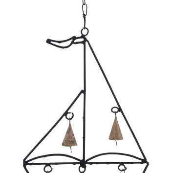 Metal Boat Wind Chime With Sail Boat Design