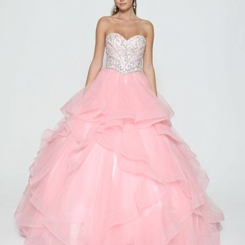 Blush Strapless Tiered Quinceanera Dress Beaded