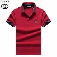 GUCCI 2019 new men's casual POLO shirt stand collar half sleeve T-shirt red