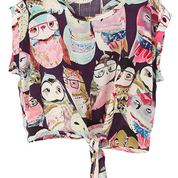 Owls Print Cuffed Sleeves Tying Tee