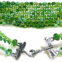 Lime Green Beaded Bracelet with Dragonfly Clasp