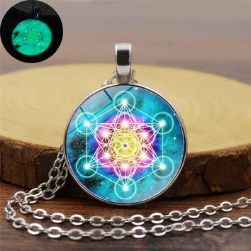 Yoga Meditation Luminous Jewelry Psychedelic Sacred Geometry Glass Cabochon Pendant Silver Chain Glow In The Dark Necklace Women