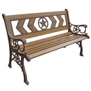 2-Seat Outdoor Metal and Wood Garden Park Bench