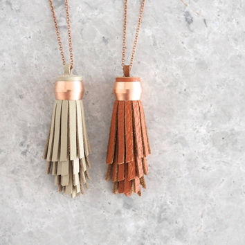 Boho Tassel Necklace, Luxe Jewelry for Women, Spiral Design, Bohemian Copper and Leather Pendant, Bridesmaid Gift