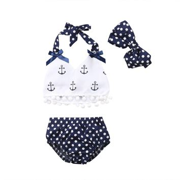 Baby Girls Anchors Tops Polka Dot Briefs Tessel Bikini Swimwear Swimsuit Outfits Bathing Suit Beachwear Hot Summer
