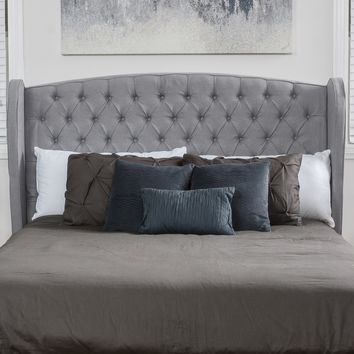 Denise Austin Home Lille King / California King Tufted Fabric Wingback Headboard