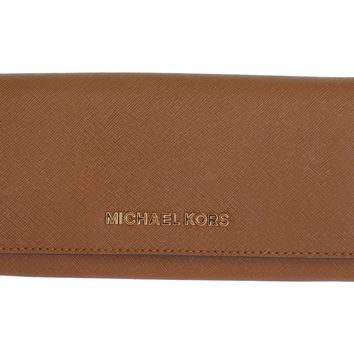 Brown JET SET TRAVEL Carryall Leather Wallet