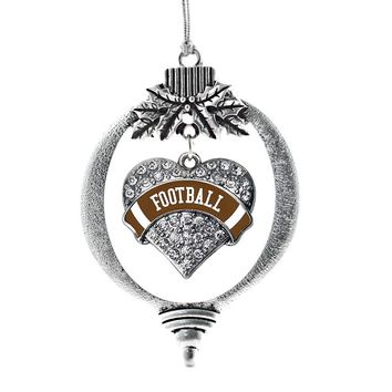 Football Design Pave Heart Charm Holiday Ornament