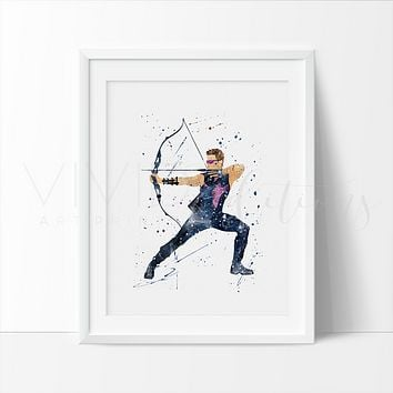 Hawkeye Watercolor Art Print