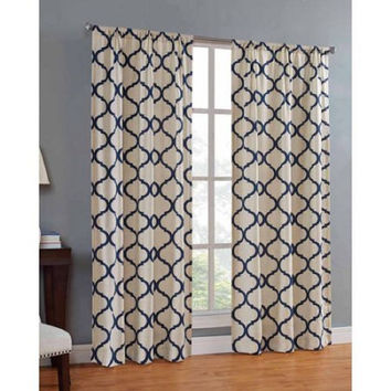 "Mainstays Canvas Iron Work Curtain Panel 50""X84"" Indigo"