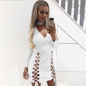 Fashion Sexy V-Neck Package Hip Dress