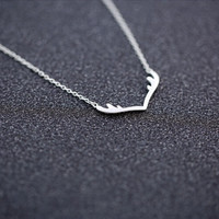 925 sterling silver necklace, joker fashion necklace, silver small antlers necklace