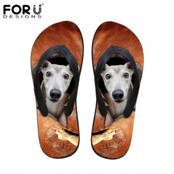 New 2017 Fashion Summer Rubber Flip Flops Men Sandals Animal Dog Printed Leisure Beach Casual Shoes Flat Slippers Free Shipping