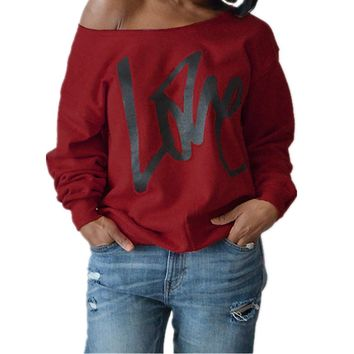Taiduosheng Women's Hoodied Valentine's Day Gift Off-Shoulder Blouses Long Sleeve Print Love Tops XL Red