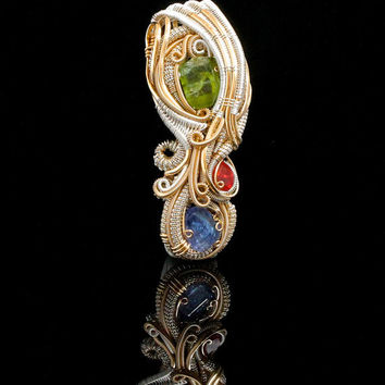 Peridot Tanzanite Silver and Gold Wire wrap, handmade unique jewelry pendant ooak