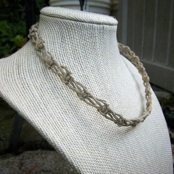 Natural Switchback Knot Hemp Choker Necklace