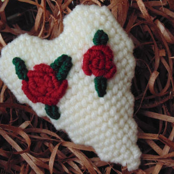 Rose Heart Ornament in Needlepoint, Rustic Wedding Favor, Needle Art Heart, Red Rose Heart, Holiday Ornament, Victorian Heart Ornament