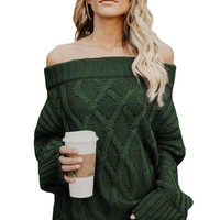 Green Off The Shoulder Winter Sweater