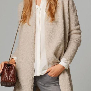 Collarless Solid Color Long Sleeve Cardigan