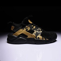 Nike Air Huarache 1 4 Suede Black Gold Sport Shoes
