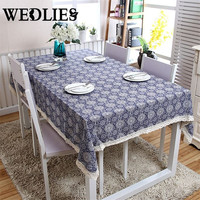 Table Cloth with Lace Retro Blue and White Cotton Print Chinese Style Rectangular Dinning Tablecloths Cover Home Decor