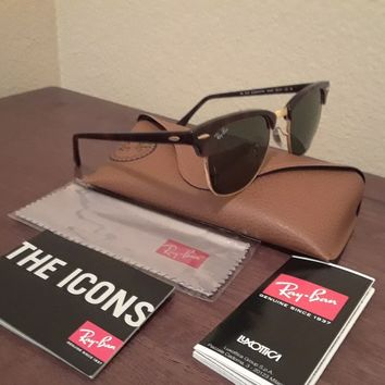 NWT New Authentic RAY-BAN Clubmasters RB3016 TORT/GOLD Frame G15 Glass Lenses