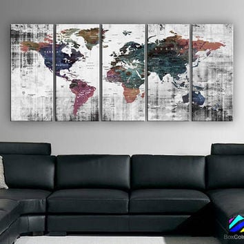 "XLARGE 30""x70"" 5 Panels 30""x14"" Ea Art Canvas Print Watercolor Old Map World Push Pin Travel Wall decor (framed 1.5"" depth)M1809"