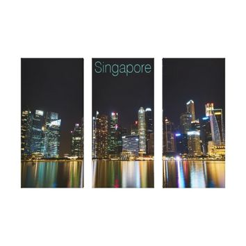 Singapore Cityscape at Night Canvas Print