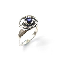 Sterling Silver Iolite Ring, Handcrafted Jewelry, Blue Stone, Artisan Ring, One of a Kind, Modern Jewelry, Unique Ring
