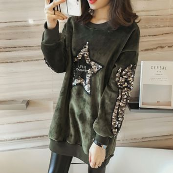 Women'S Five-Pointed Star Sequined Long-Sleeved Sweater