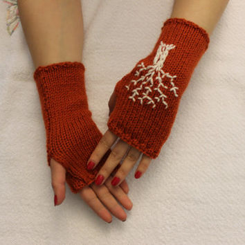 Hand Knitted Fingerless Gloves, Female flame gloves ,Life Tree embroidered gloves,Turkish handicrafts, Gift Ideas,  Winter Accessories,