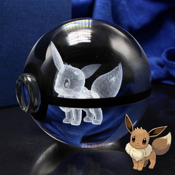 3D Laser  Go Crystal Eevee Sculpture Ball With Led Light Base for Cartoon SouvenirsKawaii Pokemon go  AT_89_9