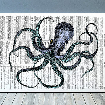 Octopus poster Marine print Nautical print Beach house decor RTA959