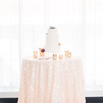 Peach Sequin Tablecloth | Modern Chic Wedding Inspiration | Blush Sequin table Linen