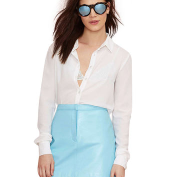 Light Blue Faux Leather Mini Skirt