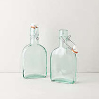 Anthropologie - Mini Green Glass Storage Flasks