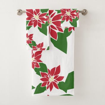 Poinsettia Bath Towel Set