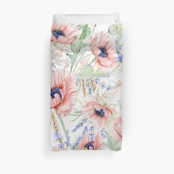 'Watercolor Poppy Flower Pattern ' Duvet Cover by UtArt