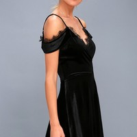 Middle of the Night Black Velvet Off-the-Shoulder Dress