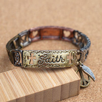 Faith Hope Love Sign Inspirational Quote Words Affirmation Bracelet