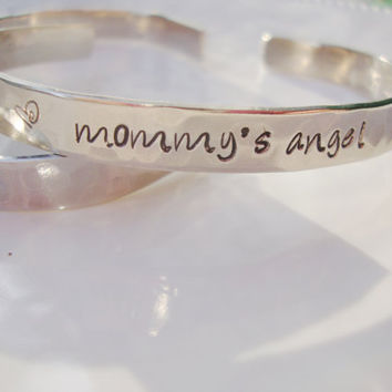 Mommy's angel hand stamped silver bracelet for child