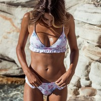 New Arrival Sexy Summer Hot Swimsuit Beach Swimwear Print Ruffle Lace Bikini [1303950852212]