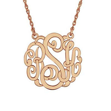 25mm Script Monogram Necklace in Sterling Silver with 14K Rose Gold Plate (3 Initials)