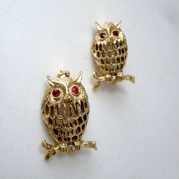 Vintage Owl Brooch Gold-tone by Gerrys Set of 2