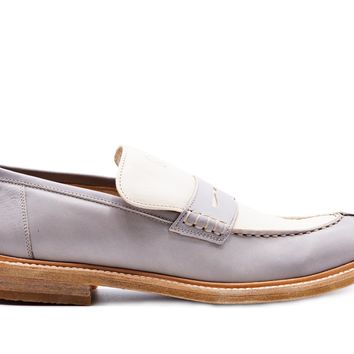0b867305c5d Brunello Cucinelli Womens Beige Leather Two-Toned Loafers Shoes