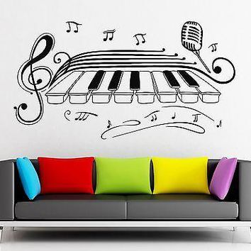 Wall Stickers Vinyl Decal Classical Music Piano Jazz Blues Microphone Unique Gift (ig2268)