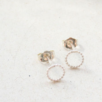 tiny spheres earstuds / dainty daily simple silver studs for the ear